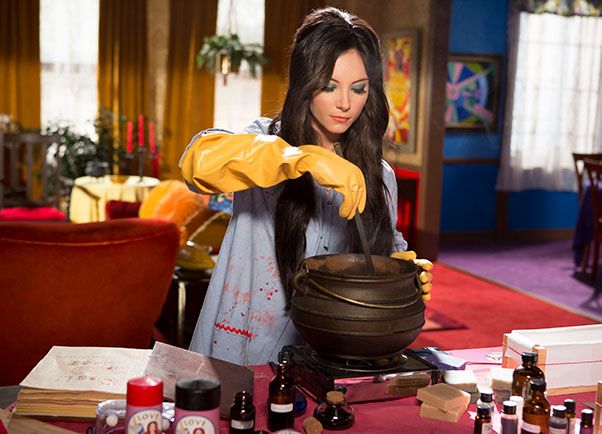 Elaine (Samantha Robinson) makes crafts and love potions